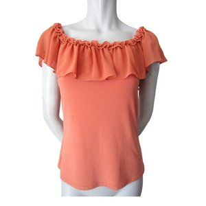 Joseph Ribkoff Orange Ruffled Top 8